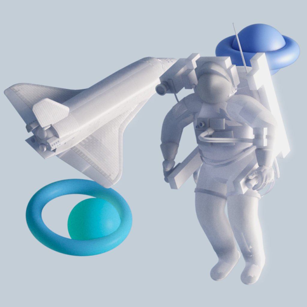 cohete y astronauta incubadora de startups